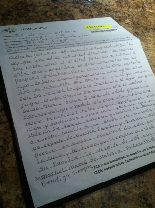 Valeria's mom's letter to us.