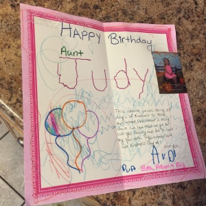 Aunt Judy's card